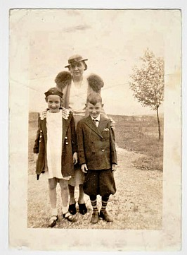 My mother, brother  & I visiting St. Mary's Cemetery on Easter, 1937
